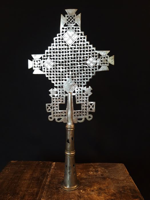 Old Coptic procession cross from Lalibela, Ethiopia - Alloy of silver, copper and nickel