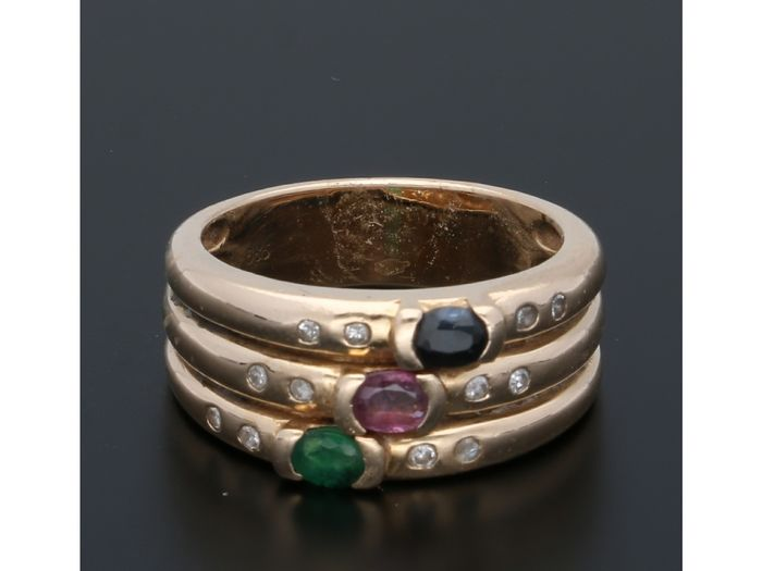 14 kt. Gold - Ring - 0.06 ct Diamond - Emerald, Ruby, Sapphire