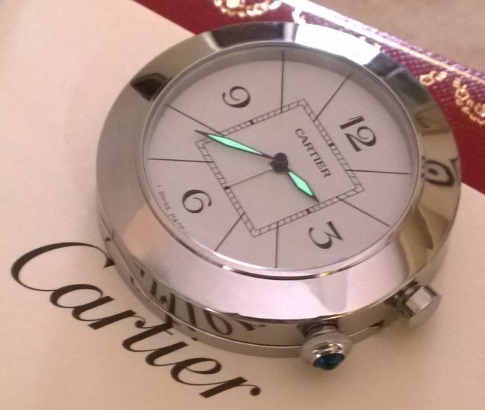 Wekker - Cartier Pasha Swiss Made 3356 mai usato, come Nuovo - Staal - 2000- 2010