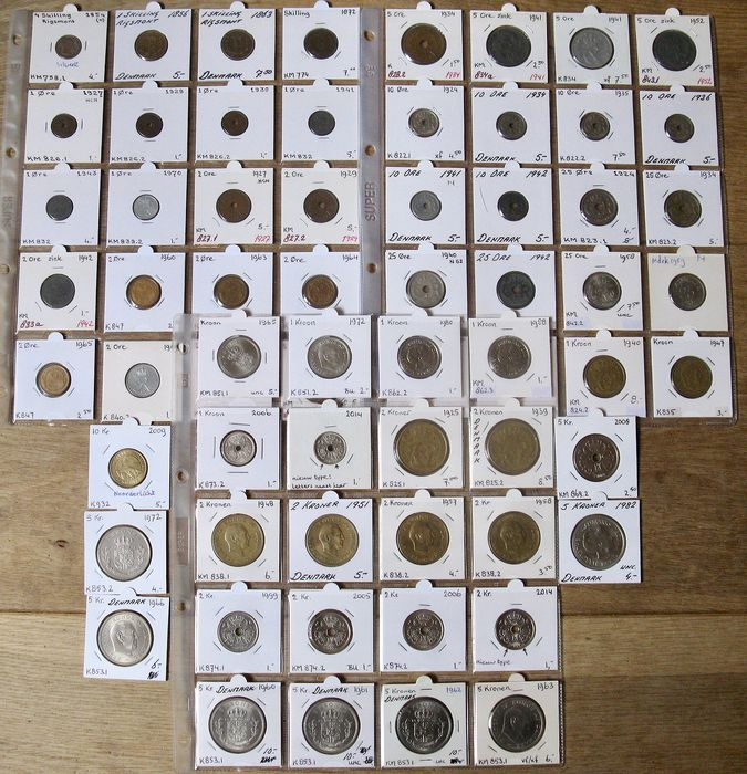 Dänemark - Skilling up to and including 10 Kroner 1854/2009 (65 different coins) incl. many better grades