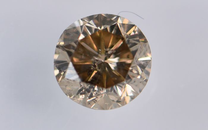 1 pcs Diamante - 0.44 ct - Redondo - fancy intens orangy brown - I1, No Reserve Price!