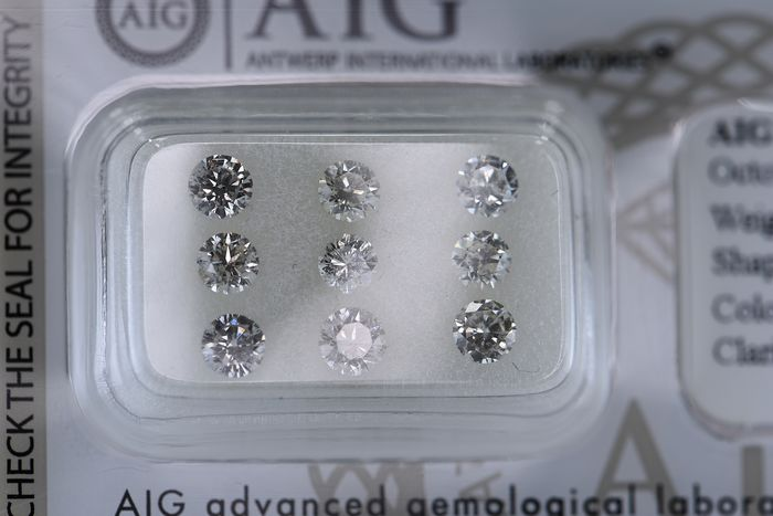 9 pcs Diamant - 1.89 ct - Rund - E, J - I1, SI2, No Reserve Price!