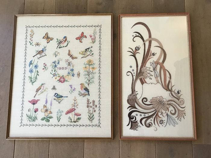Two beautiful Hand-embroidered Paintings - Linen + Relaxed glass