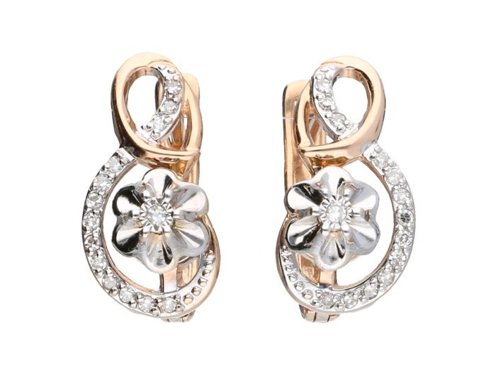 14 quilates Bicolor, Oro - Pendientes - 0.14 ct Diamante