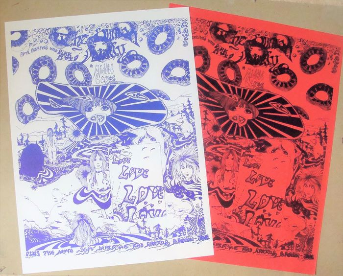 Pink Floyd - Very nice Middle Earth Love Festival poster set - Reprint Poster (Neuauflage) - 1968/1979