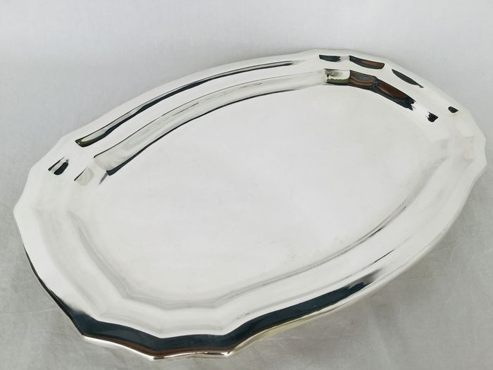 """""""Fleuron France"""" voor Christoffel , Art Deco ca 1930  - Large, long dish with a nice edge - Silvered"""