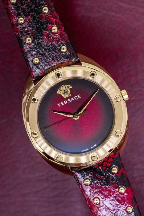 Versace - Shadov Watch Red Snake Pattern Leather Strap Swiss Made - VEBM00918 - Dames - Brand New