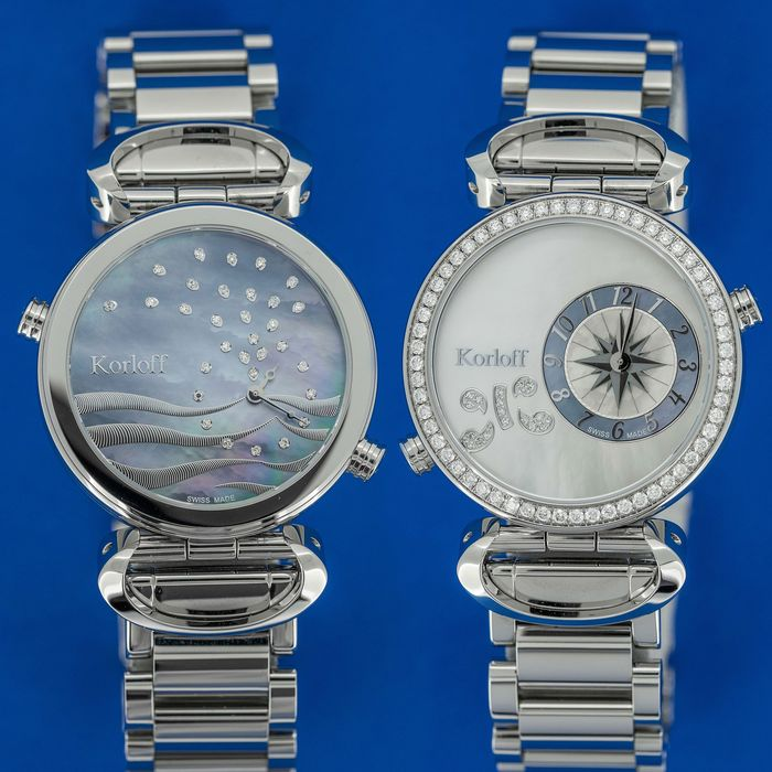 Korloff - 108 Diamonds for 1,26 Carat Reversible 2 time Zones Mother of Pearl Dial Verso Waves Swiss Made - LM1D/2BR - Damen - BRAND NEW
