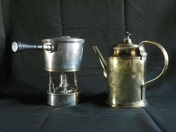 - A teapot and a coffee pot with his stove. (2) - Yellow copper and silver brass