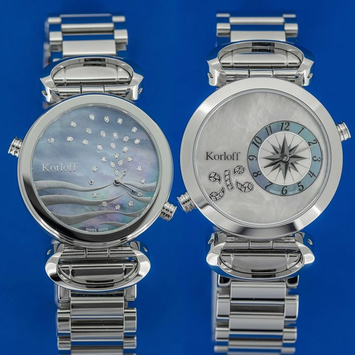 Korloff - 49 Diamonds for 0,20 Carats 2 Timezones Reversible White Mother of Pearl Dial Swiss Made  - LM1/2BR - Femme - BRAND NEW