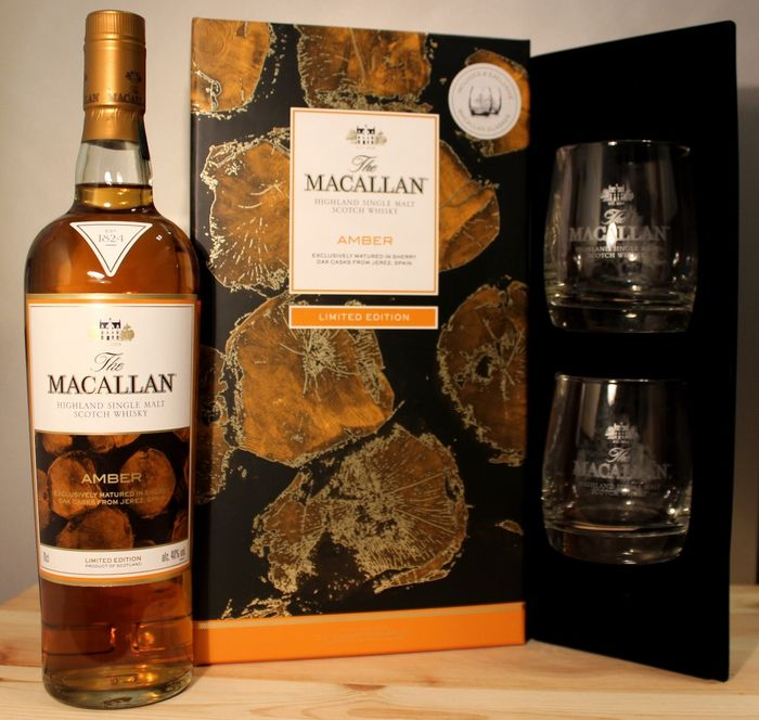 Macallan Amber, limited edition, 2 original glasses - 70cl