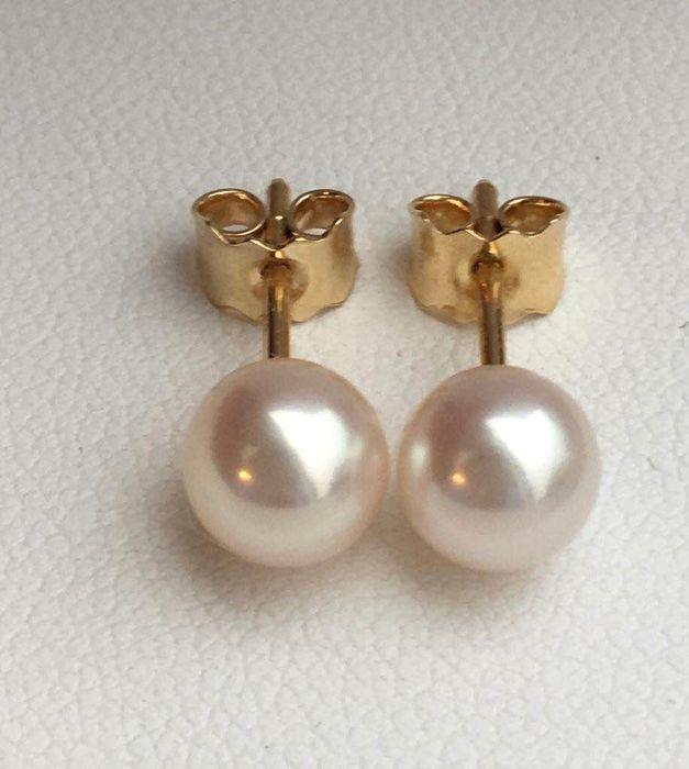 18 kt. Yellow gold - Earrings Akoya pearl diameter 6.5 mm