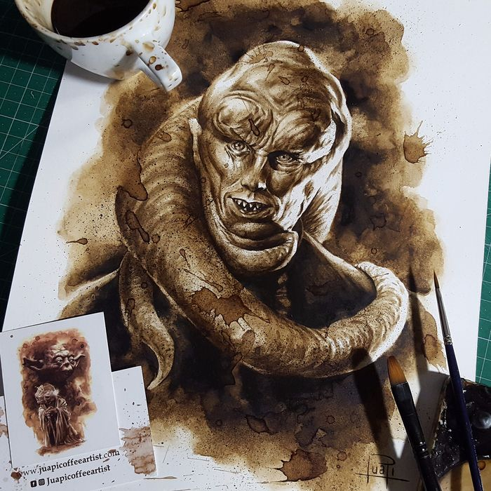 Coffee Painting - Bib Fortuna - Original (2018)