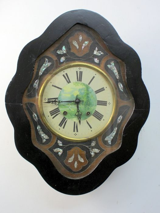 Antique Oeil de Boeuf clock - Blackened wood, mother-of-pearl intarsia - Second half 19th century