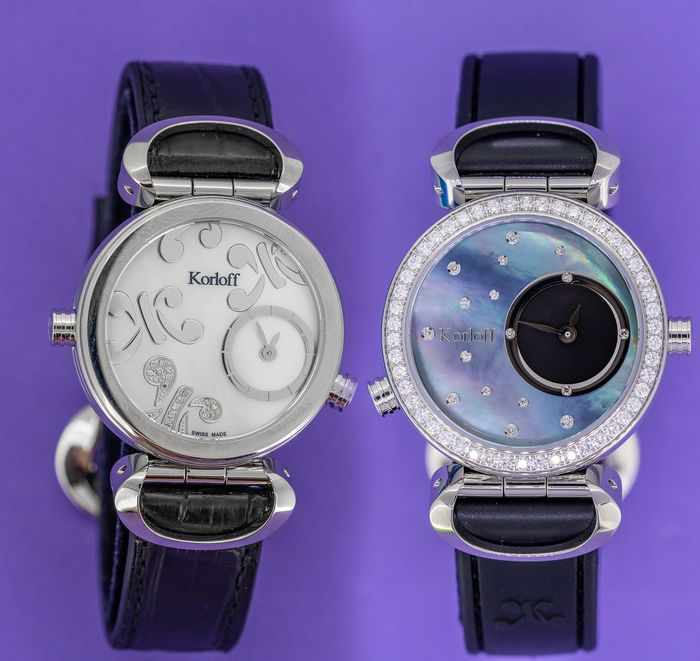Korloff - Reversible Diamonds for 1,14 Carat Cassiope Collection  White/ Blue Mother Of Pearl dials Swiss Made - LR3B/4D - Femme - Brand New