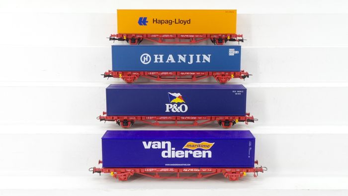 Piko H0 - 95657/95649/95613 - Wagon - 4 Containerwagens type Lgns met lading - NS