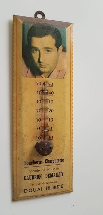 Advertising board with thermometer - glacoid