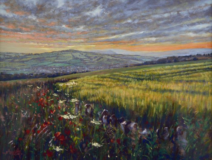 Lionel Aggett (1938-2009) - Winchcombe sunset in the Cotswolds