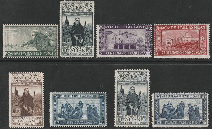 Royaume d'Italie 1926 - St. Francis complete set with 1.25 Lire perforated 13.5 - Sassone N. S.39
