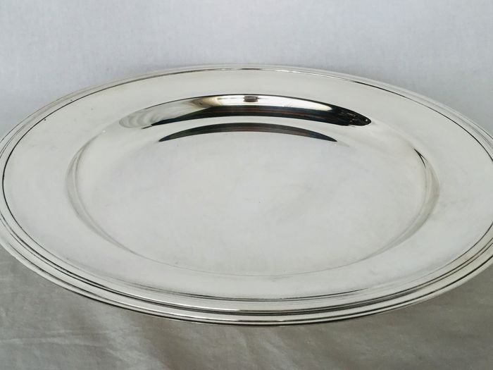 """""""CHRISTOFLE"""" - Beautiful large round serving dish - silver-plated metal, model """"ALBI"""""""