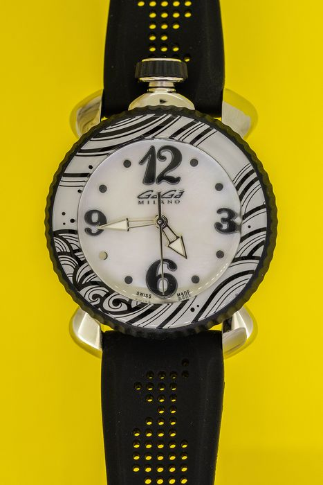 GaGà Milano - Lady Sport 40MM Black White Mother of Pearl Dial Swiss Made - 7020 - Women - Brand New