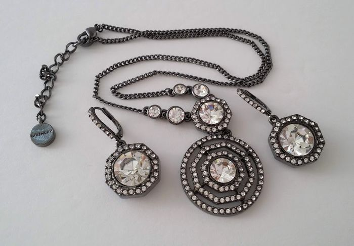 Givenchy Clear Crystal Necklace and Earrings Set
