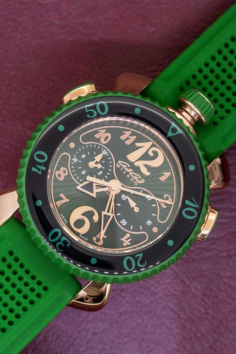 "GaGà Milano - Chrono Sport 45MM Rose Gold Green Swiss Made - 7011 ""NO RESERVE PRICE"" - Unisex - Brand New"