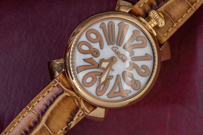 "GaGà Milano - Manuale Brown 40MM Rose Gold with White Mother Of Pearl Dial - 5021.2 ""NO RESERVE PRICE"" - Unisex - Brand New"