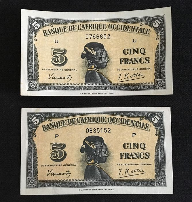 French West Africa - 2 x 5 Francs 14.12.1942. - Pick- 28b - WWII German Occupation