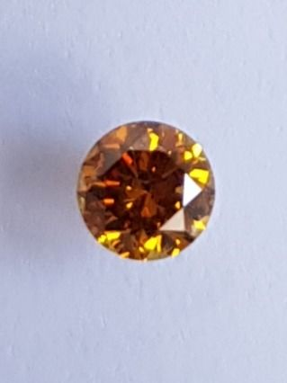 1 pcs Diamant - 0.25 ct - Brillant - fancy vivid orange yellow - SI2
