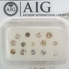 14 pcs Diamanter - 1.05 ct - Rund - Mix Colors - I1, I2, I3 (piqué), ***No Reserve Price***