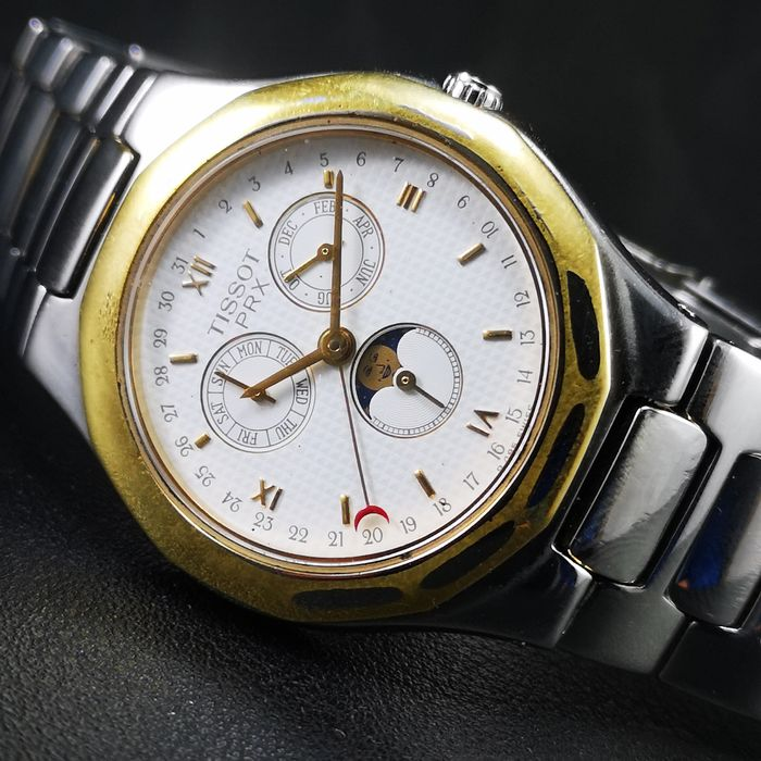 "Tissot - ""NO RESERVE PRICE"" - Moonphase & Triple Date w/Original Band - P 485/K - Heren - 1980-1989"