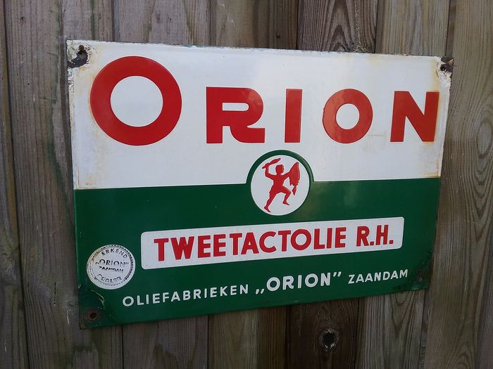 Emaille Billboard Orion Tweetact Öl. (1) - Emaille