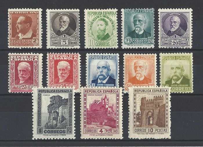 Spanje 1932 - Personalities complete set, without numeral - Edifil 662/75
