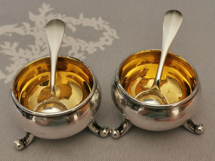 "christofle - Pair of salt and pepper ""cauldron gold"" christofle - Gold, Silver plated"