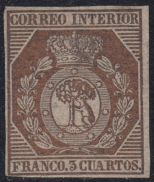 Spanje 1853 - Coat of Arms of Madrid. 3 cuartos bronze. CEM certificate. - Edifil 23