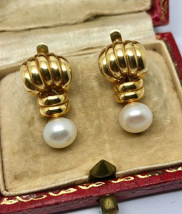 18 carats Or jaune - Boucles d'oreilles Perle Mabe 6.9 mm