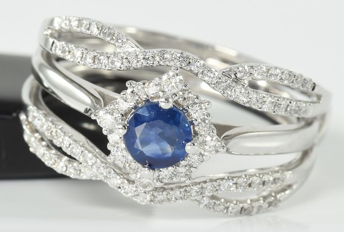 14 kt. White gold - Ring - 0.82 ct Diamond - 0.59 ct Sapphire - Excellent Condition