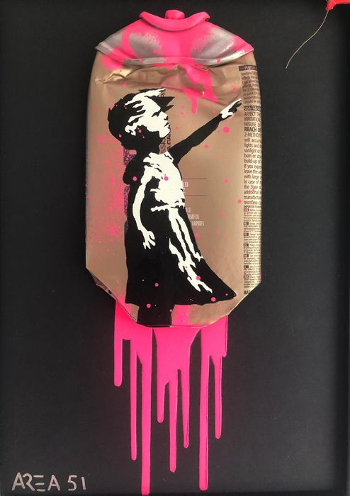 """Area 51 - """"Banksy"""" Girl with Balloon on crushed spray can"""