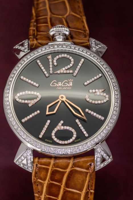 GaGà Milano - Diamonds for 2.1 Carat Limited Edition Brown Italian Handmade Leather strapSwiss Made - 5090.10 - Women - Brand New