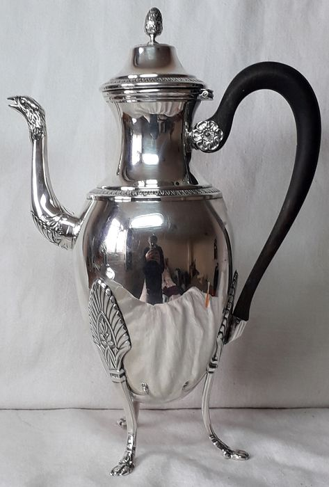 French Antique Ercuis Coffee Pot with Rare Bird Spout - Silverplate