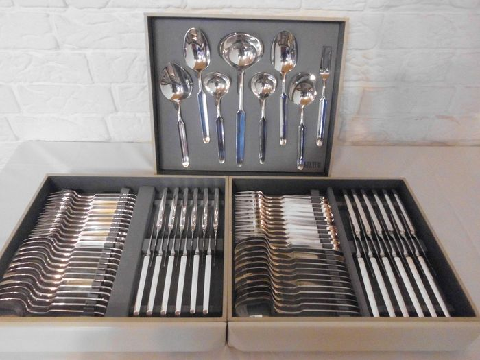 12 person heavily silvered Keltum Posthoorn cutlery set in original cassette, 80 parts - silver-plated metal