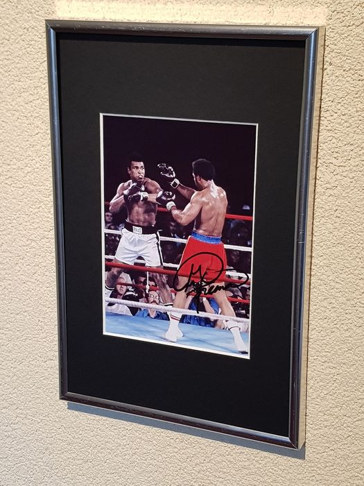 USA - Boxing - George Foreman and Muhammad Ali - 1974 - framed hand signed photograph by Foreman