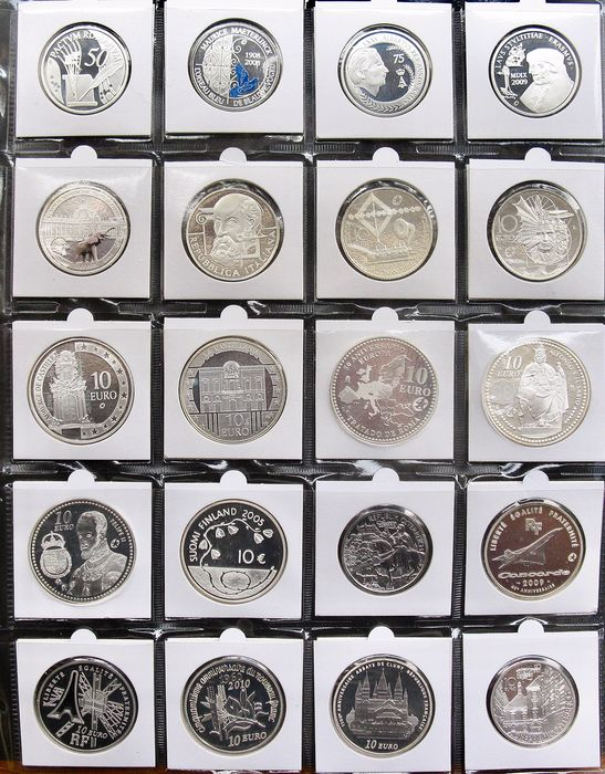 Europe - Collection 10 Euro coins 2005/2010 (20 different) - Silver