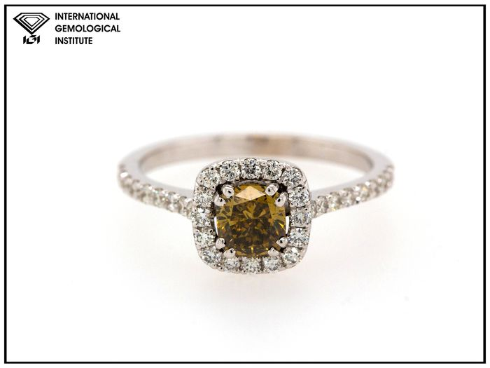 14 kt. White gold - Ring - 1.11 ct Diamond - Fancy Deep Brown-Yellow - SI2