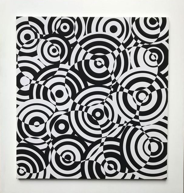 Antonio Asis 1932 - 2019 - Interferences Cercles Noir et Blanc - SIGNED