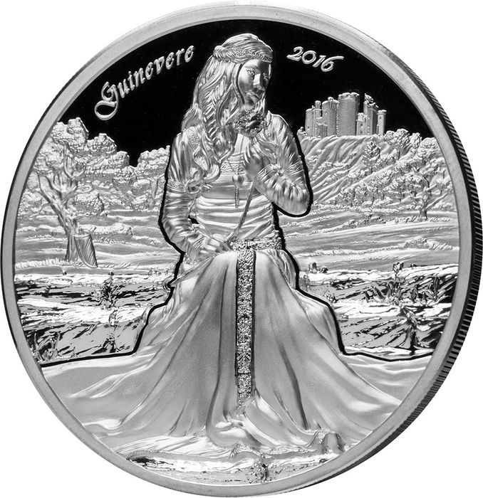 """Cook Islands. 10 Dollars 2016 - Proof - """"GUINEVERE"""" - Camelot Knights - Round Table - 2 Oz"""