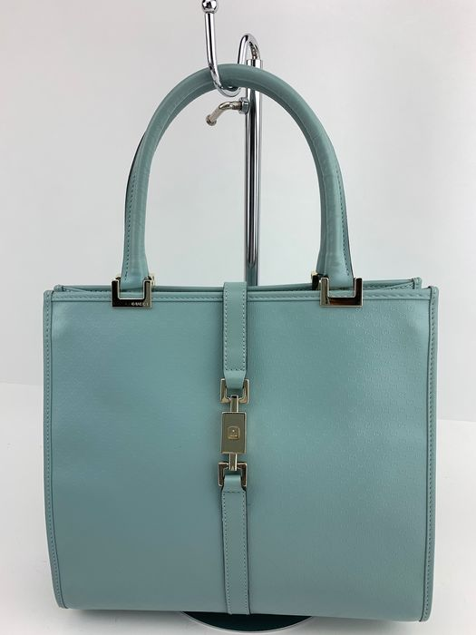 Gucci - LOW RP-Baby blue Leather-GG patern Bolso de mano