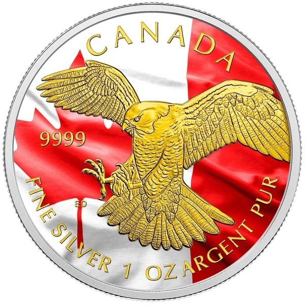 Canada - 5 Dollar 2014 Birds of Prey Peregrine Falcon Colorized Gilded flag - 1 Oz - Silver