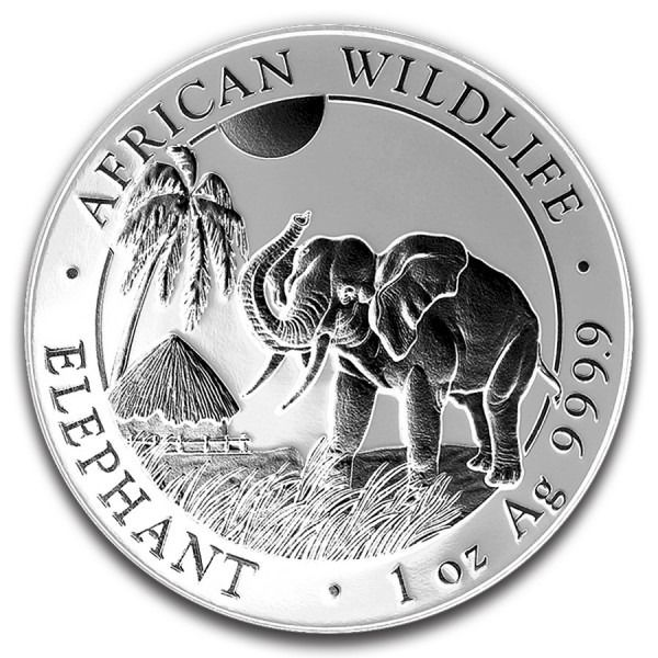 Somalie - 100 Shilling 2017 African Wildlife - Elephant Ruthenium Finish - 1 Oz - Argent